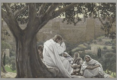 James Tissot (French, 1836-1902). The Prophecy of the Destruction of the Temple (La prédication de la ruine du Temple), 1886-1894. Opaque watercolor over graphite on gray wove paper, Image: 7 1/8 x 11 1/16 in. (18.1 x 28.1 cm). Brooklyn Museum, Purchased by public subscription, 00.159.213