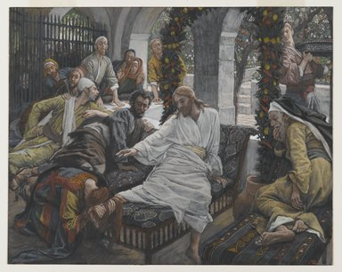 James Tissot (French, 1836-1902). The Ointment of the Magdalene (Le parfum de Madeleine), 1886-1894. Opaque watercolor over graphite on gray wove paper, Image: 8 3/4 x 10 15/16 in. (22.2 x 27.8 cm). Brooklyn Museum, Purchased by public subscription, 00.159.214