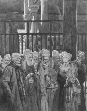 James Tissot (French, 1836-1902). Conspiracy of the Jews (Conspiration des juifs), 1886-1894. Opaque watercolor over graphite on gray wove paper, Image: 9 7/16 x 7 5/16 in. (24 x 18.6 cm). Brooklyn Museum, Purchased by public subscription, 00.159.215