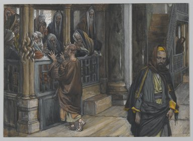 James Tissot (French, 1836-1902). Judas Goes to Find the Jews (Judas va trouver les Juifs), 1886-1894. Opaque watercolor over graphite on gray wove paper, Image: 7 3/16 x 10 in. (18.3 x 25.4 cm). Brooklyn Museum, Purchased by public subscription, 00.159.216