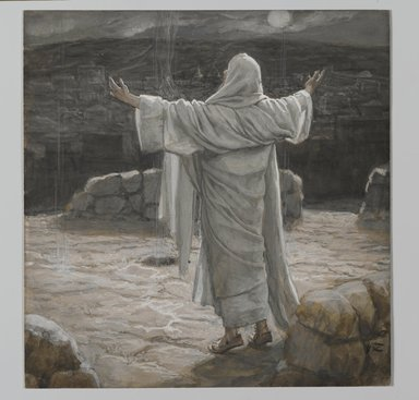 James Tissot (French, 1836-1902). Christ Retreats to the Mountain at Night (Jésus se retira la nuit sur la montagne), 1886-1894. Opaque watercolor over graphite on gray wove paper, Image: 7 1/2 x 7 1/4 in. (19.1 x 18.4 cm). Brooklyn Museum, Purchased by public subscription, 00.159.217