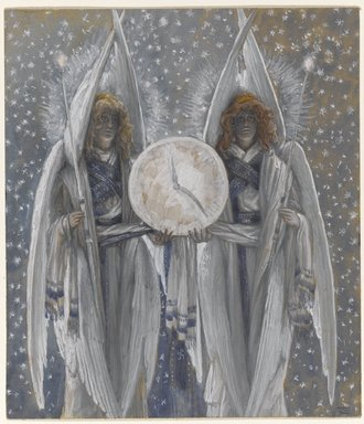 Brooklyn Museum: Angels Holding a Dial Indicating the Different Hours of the Acts of the Passion (Anges tenant un cadran indiquant les différentes heures des actes de la passion)