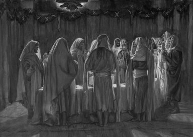 James Tissot (French, 1836-1902). The Last Supper (La Cène légale), 1886-1894. Opaque watercolor over graphite on gray wove paper, Image: 8 9/16 x 12 1/16 in. (21.7 x 30.6 cm). Brooklyn Museum, Purchased by public subscription, 00.159.220