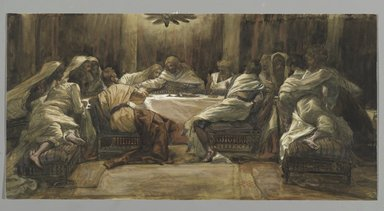 James Tissot (French, 1836-1902). The Last Supper: Judas Dipping his Hand in the Dish (La Céne. Judas met la main dans le plat), 1886-1894. Opaque watercolor over graphite on gray wove paper, Image: 9 3/4 x 19 3/8 in. (24.8 x 49.2 cm). Brooklyn Museum, Purchased by public subscription, 00.159.221