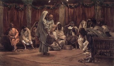 James Tissot (French, 1836-1902). The Washing of the Feet (Le lavement des pieds), 1886-1894. Opaque watercolor over graphite on gray wove paper, Image: 9 3/4 x 16 11/16 in. (24.8 x 42.4 cm). Brooklyn Museum, Purchased by public subscription, 00.159.222