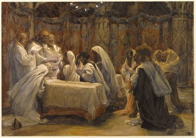 James Tissot (French, 1836-1902). The Communion of the Apostles (La communion des apôtres), 1886-1894. Opaque watercolor over graphite on gray wove paper, Image: 9 7/16 x 13 1/2 in. (24 x 34.3 cm). Brooklyn Museum, Purchased by public subscription, 00.159.223
