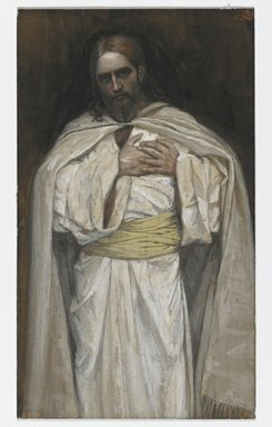 James Tissot (French, 1836-1902). Our Lord Jesus Christ (Notre-Seigneur Jésus-Christ), 1886-1894. Opaque watercolor over graphite on gray wove paper, Image: 6 7/16 x 3 3/4 in. (16.4 x 9.5 cm). Brooklyn Museum, Purchased by public subscription, 00.159.226