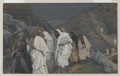 James Tissot (French, 1836-1902). The Protestations of Saint Peter (Protestations de Saint Pierre), 1886-1894. Opaque watercolor over graphite on gray wove paper, Image: 7 5/16 x 11 13/16 in. (18.6 x 30 cm). Brooklyn Museum, Purchased by public subscription, 00.159.228