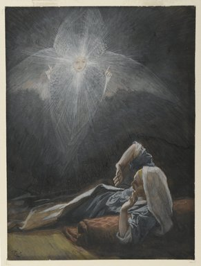 James Tissot (French, 1836-1902). The Vision of Saint Joseph (Vision de Saint Joseph), 1886-1894. Opaque watercolor over graphite on gray wove paper, Image: 6 9/16 x 4 7/8 in. (16.7 x 12.4 cm). Brooklyn Museum, Purchased by public subscription, 00.159.22