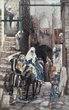 James Tissot (French, 1836-1902). Saint Joseph Seeks a Lodging in Bethlehem (Saint Joseph cherche un gîte à Bethléem), 1886-1894. Opaque watercolor over graphite on gray wove paper, Image: 10 7/16 x 6 5/8 in. (26.5 x 16.8 cm). Brooklyn Museum, Purchased by public subscription, 00.159.23