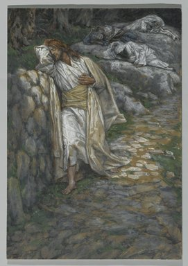 James Tissot (French, 1836-1902). My Soul is Sorrowful unto Death (Mon âme est triste jusqu'à la mort), 1886-1894. Opaque watercolor over graphite on gray wove paper, Image: 9 7/8 x 6 7/8 in. (25.1 x 17.5 cm). Brooklyn Museum, Purchased by public subscription, 00.159.230