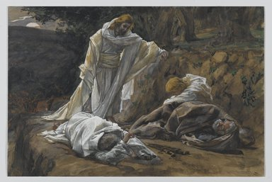 James Tissot (French, 1836-1902). You Could Not Watch One Hour With Me (Vous n'avez pu veiller une heure avec moi), 1886-1894. Opaque watercolor over graphite on gray wove paper, Image: 7 11/16 x 11 9/16 in. (19.5 x 29.4 cm). Brooklyn Museum, Purchased by public subscription, 00.159.232