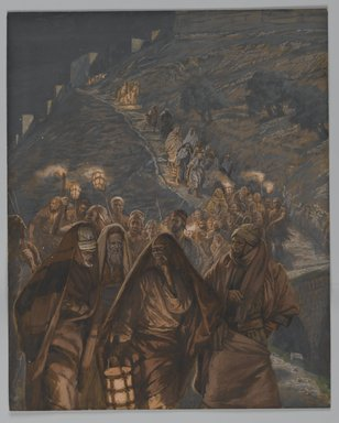 James Tissot (French, 1836-1902). The Procession of Judas (Le cortège de Judas), 1886-1894. Opaque watercolor over graphite on gray wove paper, Image: 10 13/16 x 8 11/16 in. (27.5 x 22.1 cm). Brooklyn Museum, Purchased by public subscription, 00.159.233