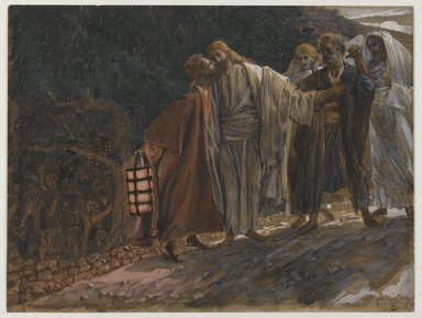 James Tissot (French, 1836-1902). The Kiss of Judas (Le baiser de Judas), 1886-1894. Opaque watercolor over graphite on gray wove paper, Image: 8 1/16 x 10 11/16 in. (20.5 x 27.1 cm). Brooklyn Museum, Purchased by public subscription, 00.159.234