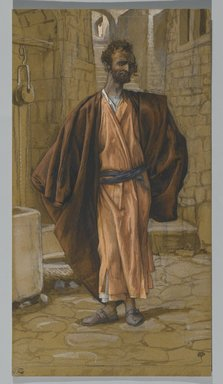James Tissot (French, 1836-1902). Judas Iscariot (Judas Iscariote), 1886-1894. Opaque watercolor over graphite on gray wove paper, Image: 11 1/16 x 6 in. (28.1 x 15.2 cm). Brooklyn Museum, Purchased by public subscription, 00.159.235