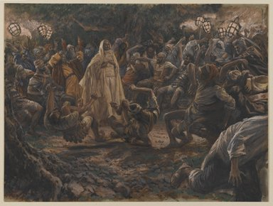 James Tissot (French, 1836-1902). The Guards Falling Backwards (Les gardes tombant à la renverse), 1886-1894. Opaque watercolor over graphite on gray wove paper, Image: 7 13/16 x 10 3/8 in. (19.8 x 26.4 cm). Brooklyn Museum, Purchased by public subscription, 00.159.236