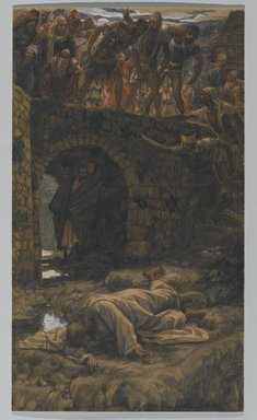 James Tissot (French, 1836-1902). The Bridge of Kedron (Le pont de Cédron), 1886-1894. Opaque watercolor over graphite on gray wove paper, Image: 15 9/16 x 8 15/16 in. (39.5 x 22.7 cm). Brooklyn Museum, Purchased by public subscription, 00.159.240