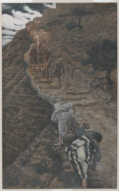 James Tissot (French, 1836-1902). Saint Peter and Saint John Follow from Afar (Saint Pierre et Saint Jean suivent de loin), 1886-1894. Opaque watercolor over graphite on gray wove paper, Image: 9 13/16 x 6 1/16 in. (24.9 x 15.4 cm). Brooklyn Museum, Purchased by public subscription, 00.159.242