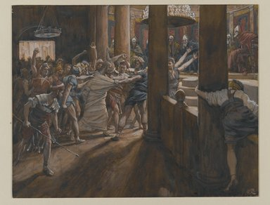 James Tissot (French, 1836-1902). The Tribunal of Annas (Le tribunal d'Anne), 1886-1894. Opaque watercolor over graphite on gray wove paper, Image: 6 11/16 x 8 9/16 in. (17 x 21.7 cm). Brooklyn Museum, Purchased by public subscription, 00.159.243