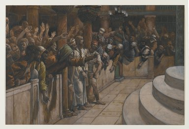 James Tissot (French, 1836-1902). The False Witnesses (Les faux témoins), 1886-1894. Opaque watercolor over graphite on gray wove paper, Image: 8 x 11 13/16 in. (20.3 x 30 cm). Brooklyn Museum, Purchased by public subscription, 00.159.244