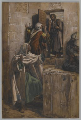 James Tissot (French, 1836-1902). The First Denial of Saint Peter (Premier reniement de Saint Pierre ), 1886-1894. Opaque watercolor over graphite on gray wove paper, image: 10 1/2 x 7 1/16 in. (26.7 x 17.9 cm). Brooklyn Museum, Purchased by public subscription, 00.159.245