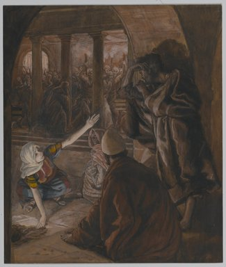 James Tissot (French, 1836-1902). The Third Denial of Peter. Jesus' Look of Reproach (Le troisième reniement de Saint Pierre.  Le regard de reproche de Jésus)., 1886-1894. Opaque watercolor over graphite on gray wove paper, Image: 9 3/16 x 7 13/16 in. (23.3 x 19.8 cm). Brooklyn Museum, Purchased by public subscription, 00.159.249