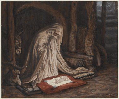 James Tissot (French, 1836-1902). The Birth of Our Lord Jesus Christ (La nativité de Notre-Seigneur Jésus-Christ), 1886-1894. Opaque watercolor over graphite on gray wove paper, Image: 5 5/8 x 6 3/4 in. (14.3 x 17.1 cm). Brooklyn Museum, Purchased by public subscription, 00.159.24