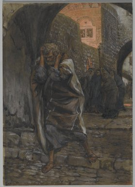 James Tissot (French, 1836-1902). The Sorrow of Saint Peter (La douleur de Saint Pierre), 1886-1894. Opaque watercolor over graphite on gray wove paper, Image: 9 1/4 x 6 9/16 in. (23.5 x 16.7 cm). Brooklyn Museum, Purchased by public subscription, 00.159.251
