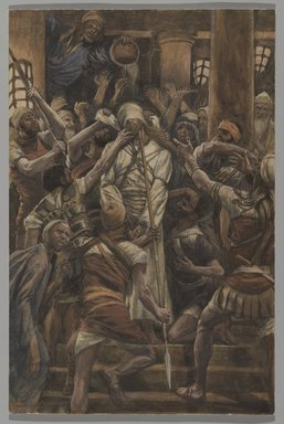 James Tissot (French, 1836-1902). Maltreatments in the House of Caiaphas (Les mauvais traitements chez Caïphe), 1886-1894. Opaque watercolor over graphite on gray wove paper, Image: 12 1/2 x 8 3/16 in. (31.8 x 20.8 cm). Brooklyn Museum, Purchased by public subscription, 00.159.252
