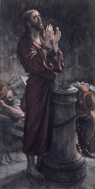 James Tissot (French, 1836-1902). Good Friday Morning: Jesus in Prison (Le matin Vendredi Saint: Jésus en prison), 1886-1894. Opaque watercolor over graphite on gray wove paper, Image: 17 1/2 x 4 3/4 in. (44.5 x 12.1 cm). Brooklyn Museum, Purchased by public subscription, 00.159.253