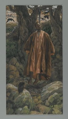 James Tissot (French, 1836-1902). Judas Hangs Himself (Judas se pend), 1886-1894. Opaque watercolor over graphite on gray wove paper, Image: 11 7/8 x 6 1/8 in. (30.2 x 15.6 cm). Brooklyn Museum, Purchased by public subscription, 00.159.256