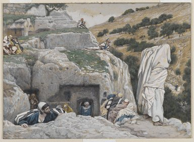 James Tissot (French, 1836-1902). The Apostles' Hiding Place (La retraite des Apôtres), 1886-1894. Opaque watercolor over graphite on gray wove paper, Image: 6 3/4 x 9 3/8 in. (17.1 x 23.8 cm). Brooklyn Museum, Purchased by public subscription, 00.159.257