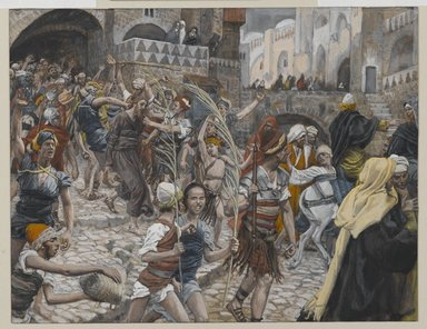 James Tissot (French, 1836-1902). Jesus Led from Caiaphas to Pilate (Jésus conduit de Caïphe à Pilate), 1886-1894. Opaque watercolor over graphite on gray wove paper, Image: 6 11/16 x 8 5/8 in. (17 x 21.9 cm). Brooklyn Museum, Purchased by public subscription, 00.159.258