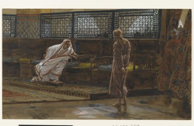 James Tissot (French, 1836-1902). Jesus Before Pilate, First Interview (Jésus devant Pilate. Premier entretien)., 1886-1894. Opaque watercolor over graphite on gray wove paper, Image: 6 5/8 x 11 1/4 in. (16.8 x 28.6 cm). Brooklyn Museum, Purchased by public subscription, 00.159.259