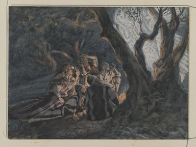 James Tissot (French, 1836-1902). The Angel and the Shepherds  (L'ange et les bergers), 1886-1894. Opaque watercolor over graphite on gray wove paper, Image: 5 9/16 x 7 9/16 in. (14.1 x 19.2 cm). Brooklyn Museum, Purchased by public subscription, 00.159.25