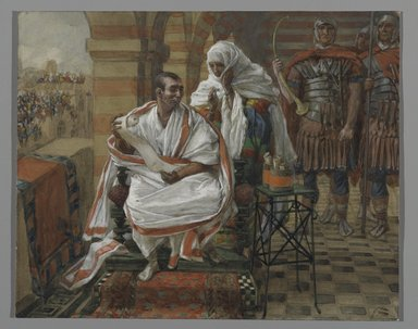 James Tissot (French, 1836-1902). The Message of Pilate's Wife.  Pilate, 1886-1894. Opaque watercolor over graphite on gray wove paper, a: 5 3/4 x 7 3/16 in. (14.6 x 18.3 cm). Brooklyn Museum, Purchased by public subscription, 00.159.260a-b