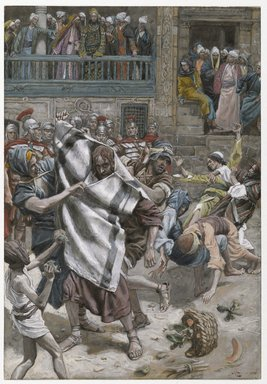 James Tissot (French, 1836-1902). Jesus Before Herod (Jésus devant Hérode), 1886-1894. Opaque watercolor over graphite on gray wove paper, Image: 7 13/16 x 5 in. (19.8 x 12.7 cm). Brooklyn Museum, Purchased by public subscription, 00.159.261