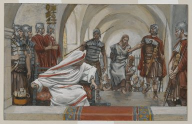 James Tissot (French, 1836-1902). Jesus Led from Herod to Pilate (Jésus emmené de Hérode à Pilate), 1886-1894. Opaque watercolor over graphite on gray wove paper, Image: 4 15/16 x 7 3/4 in. (12.5 x 19.7 cm). Brooklyn Museum, Purchased by public subscription, 00.159.262