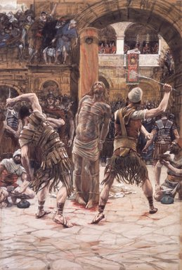 James Tissot (French, 1836-1902). The Scourging on the Front (La flagellation de face), 1886-1894. Opaque watercolor over graphite on gray wove paper, Image: 14 1/4 x 9 11/16 in. (36.2 x 24.6 cm). Brooklyn Museum, Purchased by public subscription, 00.159.263
