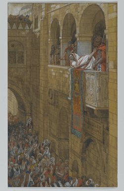 James Tissot (French, 1836-1902). Behold the Man (Ecce Homo), 1886-1894. Opaque watercolor over graphite on gray wove paper, Image: 11 1/2 x 6 7/8 in. (29.2 x 17.5 cm). Brooklyn Museum, Purchased by public subscription, 00.159.267