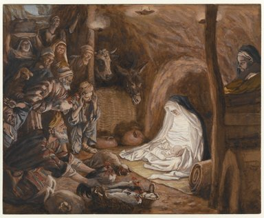 James Tissot (French, 1836-1902). The Adoration of the Shepherds (L'adoration des bergers), 1886-1894. Opaque watercolor on gray wove paper, Image: 6 1/2 x 8 in. (16.5 x 20.3 cm). Brooklyn Museum, Purchased by public subscription, 00.159.26
