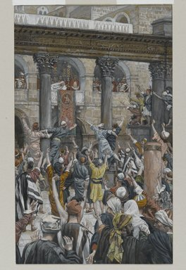 James Tissot (French, 1836-1902). Let Him Be Crucified (Qu'il soit crucifié), 1886-1894. Opaque watercolor over graphite on gray wove paper, Image: 8 15/16 x 5 7/16 in. (22.7 x 13.8 cm). Brooklyn Museum, Purchased by public subscription, 00.159.270