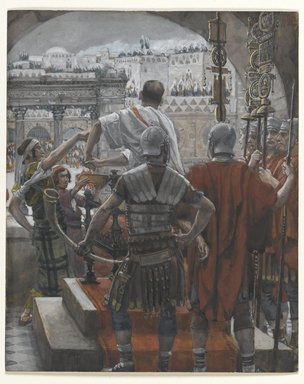 James Tissot (French, 1836-1902). Pilate Washes His Hands (Pilate se lave les mains), 1886-1894. Opaque watercolor over graphite on gray wove paper, Image: 6 1/4 x 5 1/8 in. (15.9 x 13 cm). Brooklyn Museum, Purchased by public subscription, 00.159.271