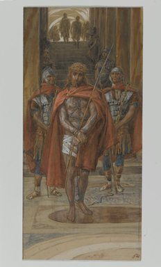James Tissot (French, 1836-1902). Jesus Leaves the Praetorium (Jésus quitte le pretoire), 1886-1894. Opaque watercolor over graphite on gray wove paper, Image: 9 9/16 x 4 1/2 in. (24.3 x 11.4 cm). Brooklyn Museum, Purchased by public subscription, 00.159.273