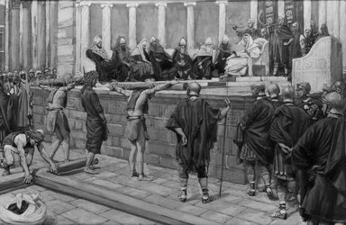 James Tissot (French, 1836-1902). The Judgment on the Gabbatha (Le jugement sur le Gabatha), 1886-1894. Opaque watercolor over graphite on gray wove paper, Image: 5 5/16 x 8 1/16 in. (13.5 x 20.5 cm). Brooklyn Museum, Purchased by public subscription, 00.159.275