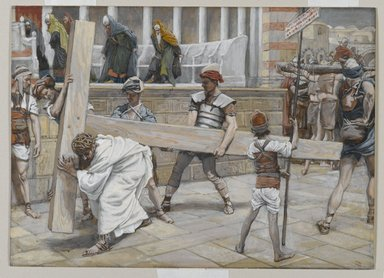 James Tissot (French, 1836-1902). Jesus Bearing the Cross (Jésus chargé de la Croix), 1886-1894. Opaque watercolor over graphite on gray wove paper, Image: 6 7/8 x 9 9/16 in. (17.5 x 24.3 cm). Brooklyn Museum, Purchased by public subscription, 00.159.278