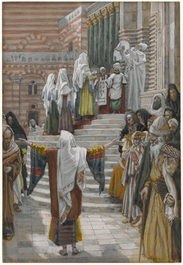 James Tissot (French, 1836-1902). The Presentation of Jesus in the Temple (La présentation de Jésus au Temple), 1886-1894. Opaque watercolor over graphite on gray wove paper, Image: 8 3/4 x 6 in. (22.2 x 15.2 cm). Brooklyn Museum, Purchased by public subscription, 00.159.27