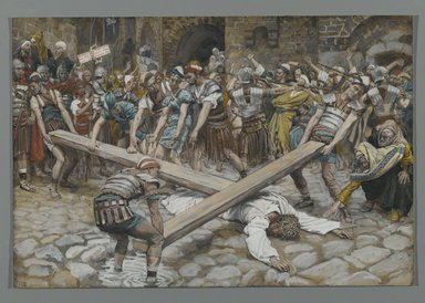 James Tissot (French, 1836-1902). Simon the Cyrenian Compelled to Carry the Cross with Jesus (Simon de Cyrène contraint de porter la Croix avec Jésus), 1886-1894. Opaque watercolor over graphite on gray wove paper, Image: 7 15/16 x 11 11/16 in. (20.2 x 29.7 cm). Brooklyn Museum, Purchased by public subscription, 00.159.281