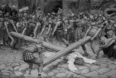 James Tissot (French, 1836-1902). Simon the Cyrenian Compelled to Carry the Cross with Jesus (Simon de Cyrène contraint de porter la Croix avec Jésus), 1886-1894. Opaque watercolor over graphite on gray wove paper, Image: 7 15/16 x 11 11/16 in. (20.2 x 29.7 cm). Brooklyn Museum, Purchased by public subscription, 00.159.281
