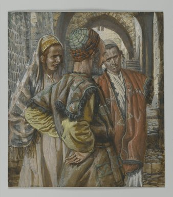 James Tissot (French, 1836-1902). Simon the Cyrenian and His Two Sons Alexander and Rufus (Simon de Cyrène et ses deux fils, Alexandre et Rufus), 1886-1894. Opaque watercolor over graphite on gray wove paper, Image: 6 7/16 x 5 3/4 in. (16.4 x 14.6 cm). Brooklyn Museum, Purchased by public subscription, 00.159.282